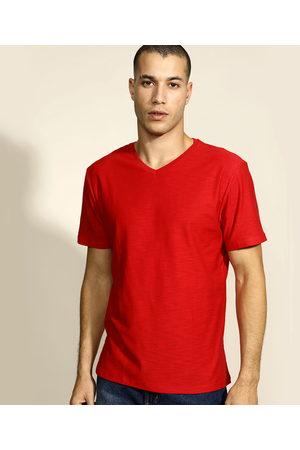 Basics Camiseta Masculina Básica Flamê Manga Curta Gola V Vermelha