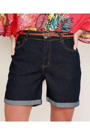 YESSICA Short Jeans Feminino Reto Cintura Média Barra Dobrada com Cinto Escuro