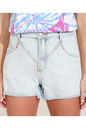 Clockhouse Short Jeans Feminino Cintura Super Alta Destroyed com Recorte e Barra Dobrada Claro