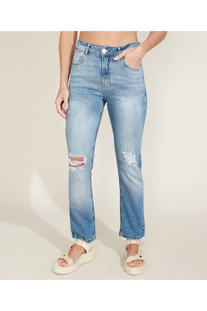 YESSICA Calça Jeans Feminina Reta Cintura Alta Destroyed Claro