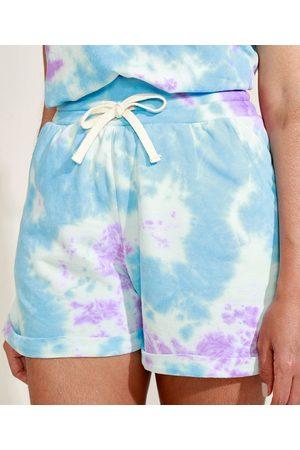 Mindse7 Short de Moletom Feminino Mindset Cintura Alta Tie Dye com Bolsos Azul Claro