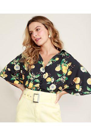 Clockhouse Camisa Feminina Estampada de Limões Manga Curta Ampla Preta