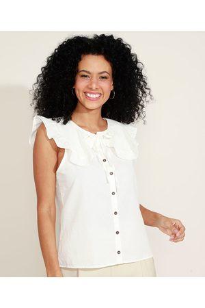YESSICA Camisa Feminina com Babados Sem Manga Gola Laço Off White