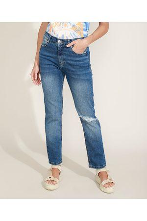 YESSICA Calça Jeans Feminina Reta Cintura Alta Destroyed Escuro