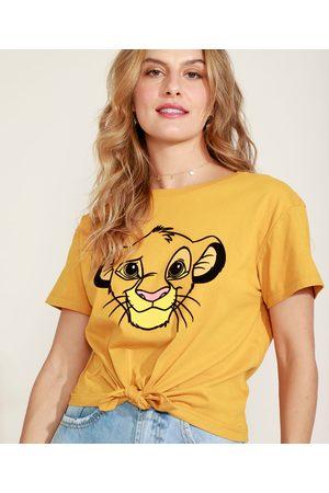 Disney Blusa Feminina Simba O Rei Leão Flocada Manga Curta Decote Redondo Mostarda