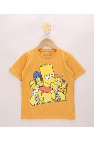 Os Simpsons Camiseta Infantil Bart Simpson e Amigos Manga Curta Amarela