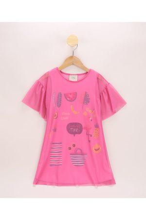 "PALOMINO Vestido de Tule Infantil Summer Time"" com Babado na Manga Pink"""
