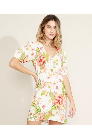 Clockhouse Vestido Feminino Curto Floral Manga Bufante Off White