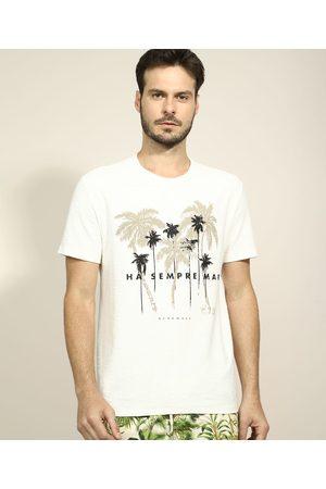 Suncoast Camiseta Masculina Coqueiros Manga Curta Gola Careca Off White