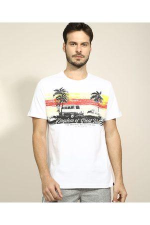 Suncoast Camiseta Masculina Carros e Coqueiros Manga Curta Gola Careca Branca