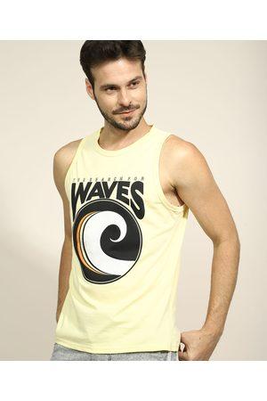 """Suncoast Regata Masculina Waves"""" Gola Careca Amarela"""""""
