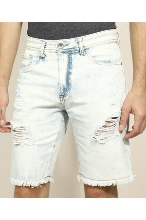 Clockhouse Bermuda Jeans Masculina Slim Destroyed Branca
