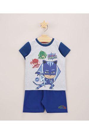 PJ Masks Pijama Infantil Manga Curta Cinza Mescla