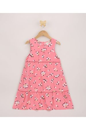PALOMINO Vestido Infantil Amplo Floral com Recortes Sem Manga Rosa