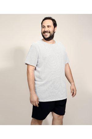 ANGELO LITRICO Pijama de Piquet Masculino Plus Size com Listras Manga Curta Branco