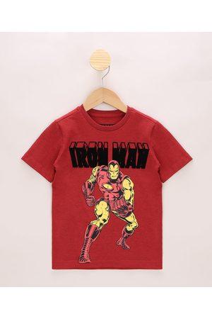 Marvel Homem Manga Curta - Camiseta Infantil Homem de Ferro Flocado Manga Curta Vermelha