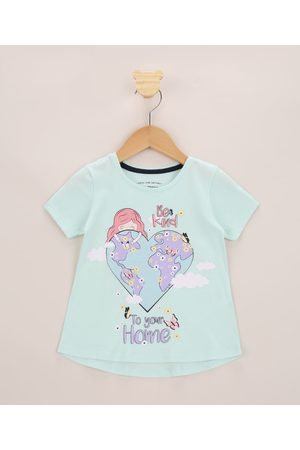 "PALOMINO Blusa Infantil Ampla Be Kind To Your Home"" com Glitter Manga Curta Claro"""
