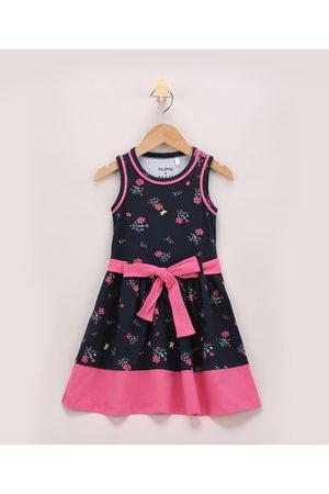 PALOMINO Vestido Infantil Floral com Faixa Para Amarrar Sem Manga Azul Marinho