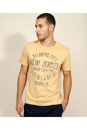 "ANGELO LITRICO Camiseta Masculina New Jersey"" Manga Curta Gola Careca Mostarda"""