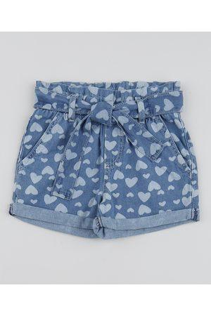 PALOMINO Short Jeans Infantil Clochard de Corações com Faixa para Amarrar Azul Médio