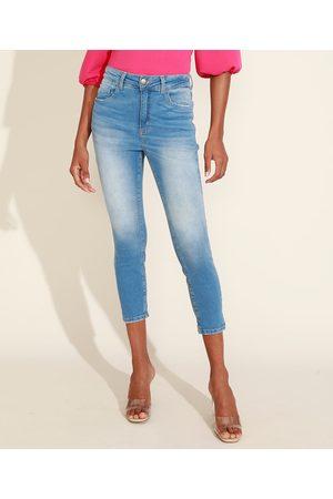 YESSICA Calça Jeans Feminina Cropped Cintura Alta com Lenço Claro