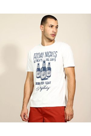 "ANGELO LITRICO Camiseta Masculina Friday Nights"" Manga Curta Gola Careca Off White"""