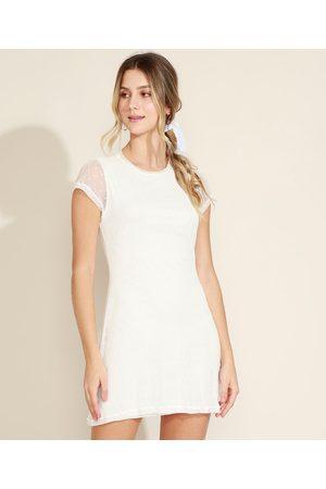 Clockhouse Vestido Feminino Curto em Tule de Poá Manga Curta Decote Redondo Off White