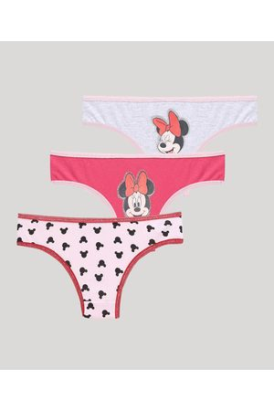 Disney Kit de 3 Calcinhas Infantis Minnie Multicor