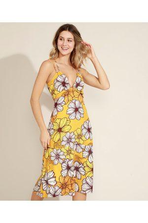 Clockhouse Mulher Vestido Estampado - Vestido Feminino Midi Floral com Recorte Vazado Decote V Alças Finas Amarelo