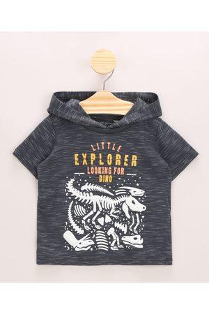 BABY CLUB Menino Manga Curta - Camiseta Infantil Dinossauros com Capuz Manga Curta Gola Careca Chumbo