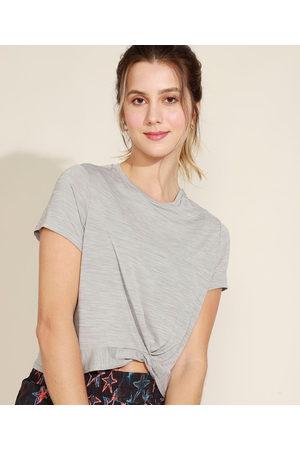 ACE Mulher Camiseta - Blusa Feminina Esportiva com Nó Manga Curta Decote Redondo Mescla