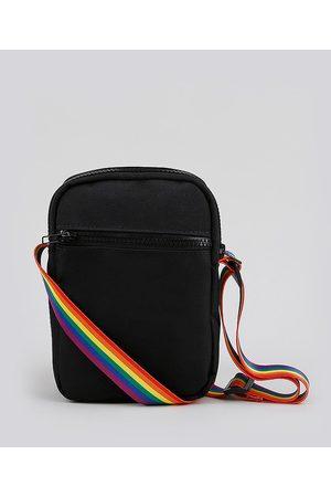 C&A Bolsa Shoulder Bag Unissex Transversal Pequena Pride com Bolso Preta