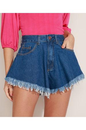 Clockhouse Short Jeans Feminino Godê Cintura Super Alta com Barra Desfiada Médio