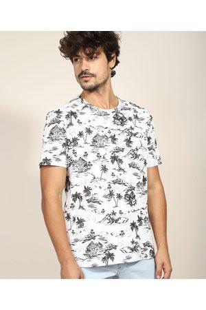 Clockhouse Camiseta Masculina Estampada de Coqueiros e Casas Manga Curta Gola Careca Branca