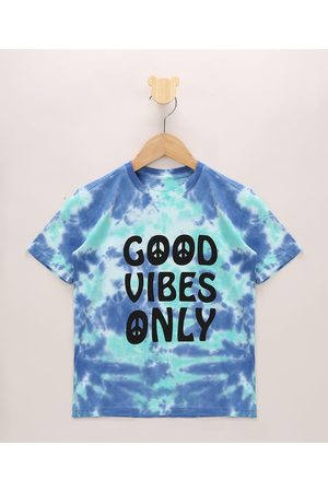 "PALOMINO Camiseta Infantil Estampada Tie Dye Good Vibes Only"" Manga Curta Azul"""