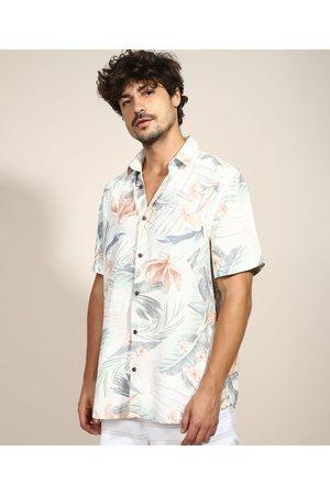 Suncoast Camisa Masculina Tradicional Estampada Floral com Linho Manga Curta Off White