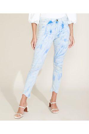 SAWARY Calça Jeans Feminina Cigarrete Push Up Cintura Alta Estampada Tie Dye Azul Claro