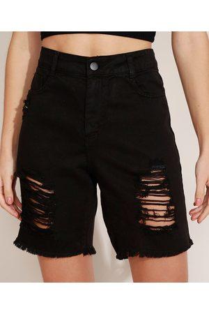 SAWARY Bermuda Jeans Feminina Cintura Alta com Pregas Destroyed Preta