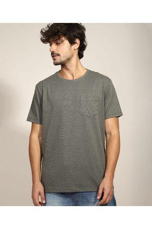Basics Homem Manga Curta - Camiseta Masculina Básica com Bolso Manga Curta Gola Careca Militar