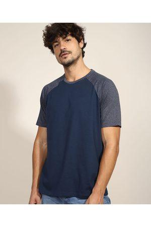 Basics Camiseta Masculina Básica Raglan Manga Curta Gola Careca