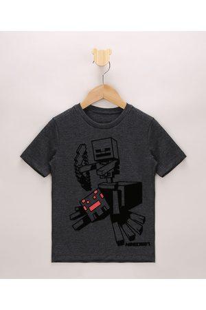 Minecraft Menino Manga Curta - Camiseta Infantil Aveludado Manga Curta Mescla Escuro