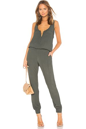 MONROW Crepe Jumpsuit in Green. - size L (also in XS, S, M)