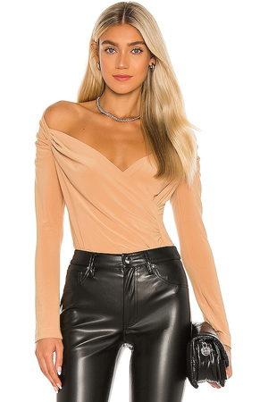 Norma Kamali X REVOLVE Long Sleeve Sweetheart Side Drape Top in Beige. - size L (also in XS, S, M)