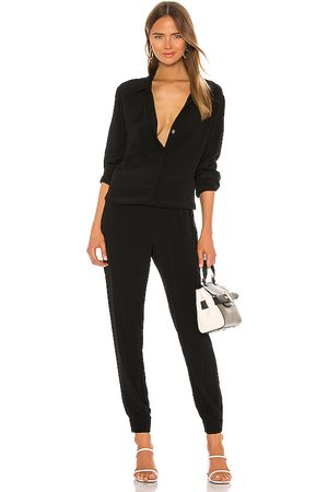 MONROW Crepe Long Sleeve Jumpsuit in . - size S (also in XS)