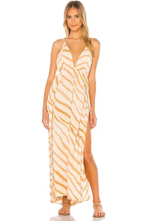 Indah River Triangle Plunge Wrap Skirt Maxi Dress in Tan. - size M/L (also in S/M)