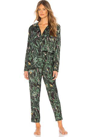 Plush Silky Jungle Print PJ Set in Green. - size L (also in S, XS, M)