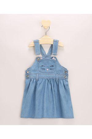 BABY CLUB Jardineira Jeans Infantil Gatinho Bordado com Bolso Claro