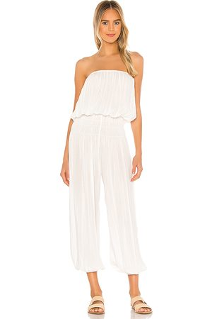 Indah Seychelle Strapless Pleated Jumpsuit in White. - size M/L (also in XS/S, S/M)
