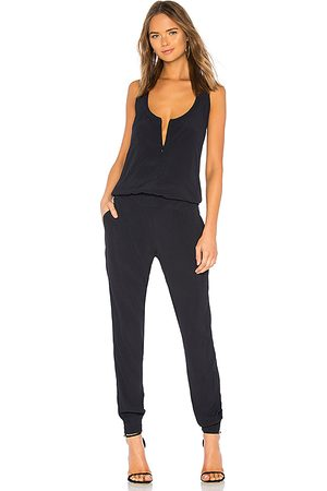 MONROW Crepe Jumpsuit in Blue. - size L (also in XS, S, M)
