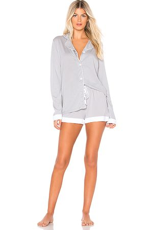 Cosabella Bella Long Sleeve Top Boxer Set PJ in Gray. - size L (also in S, M)